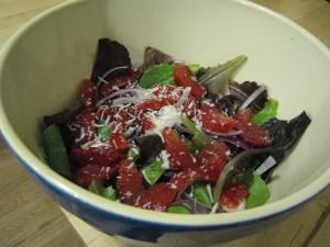 blood orange and romaine salad